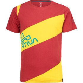 La Sportiva Slab T-Shirt Herren cardinal red/lemonade